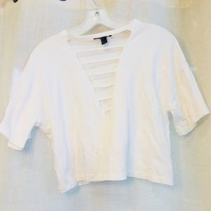 White crop top with strings